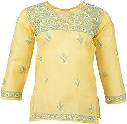 ALMAS Lucknow Chikan Cotton Regular Fit Kurti (Yellow with Blue thread)