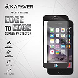 for Apple iPhone 6 Plus / 6S Plus Full Cover Edge to Edge KAPAVER® 2.5D Edge 9H Hardness Premium Tempered Glass Screen Guard Protector (Comes with Precise Camera, Proximity Sensor and Ear Piece hole) [ Anti-Glare Matte Black ]