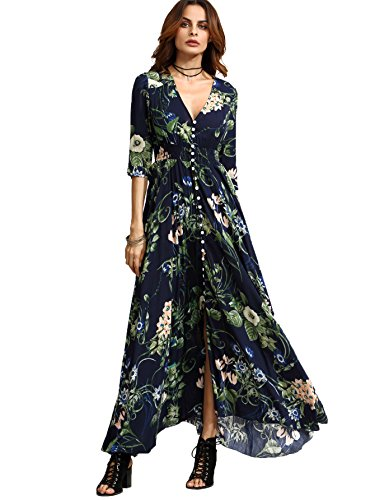 Milumia Women's Button Up Split Floral Print Flowy Party Maxi Dress Navy S