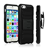 iPhone 6 Plus Case,VAKOO® iPhone 6 Plus Belt Clip 3-in-1 Combo Holster Case Set Shockproof Drop Proof Heavy Duty Rugged Soft Silicone Dual Layer Armor Stand Case with Locking Belt Swivel Clip Viewing Kickstand for Apple iPhone 6 Plus 5.5 inch BLACK