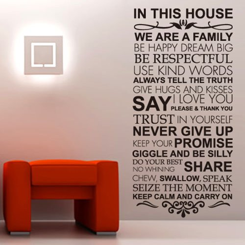 House Rules Family Love Large Wall Stickers Quotes Decals Home Lettering Art Sayings Decor front-342989