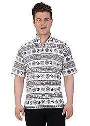 Castor Men's Ethnic Short Kurta Om Design_White_Large
