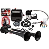 Kleinn Air Horns HK2-1 Black Complete Dual Truck Air Horn Package