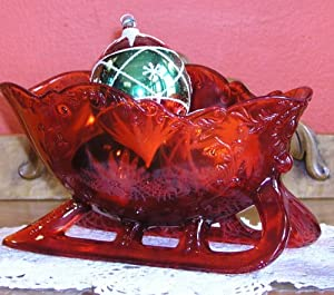Solid Ruby Red Glass Victorian Holly Sleigh Centerpiece Bowl