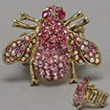 DR - Bee Rhinestone Ring, Stretchable, Bug - Insect, Pink Color