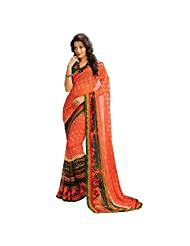 AG Lifestyle Orange Faux Georgette Saree With Unstitched Blouse AKS2025