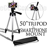 50 Inch Aluminum Camera Tripod + Universal Tripod Smartphone Mount For Apple iPhone 6, iPhone 6 Plus, iPhone 5c, iPhone 5s, iPhone 5, iPhone 4s, iPhone 4, Samsung Galaxy Note 4, Galaxy Alpha, Galaxy Mega 2, Galaxy Note Edge, Galaxy S5, Galaxy S4 mini, Gala