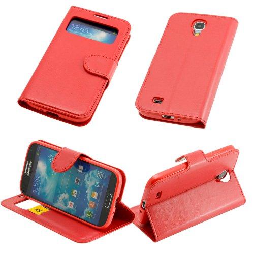 N02-rosso Custodia S View per Samsung Galaxy S4I9500I9505con apertura a finestra per cellulare custodia cover rigida Bumper Custodia con linguetta Custodia Cover
