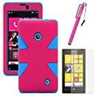 MINITURTLE, Dual Layer Tough Skin Dynamic Hybrid Hard Phone Case Cover, Clear Screen Protector Film, and Stylus Pen for Windows Smart Phone 8 Nokia Lumia 521 /T Mobile /MetroPCS (Pink / Blue)