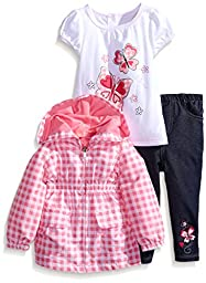 Kids Headquarters Baby Girls\' Checker Jacket with Tee and Jeans, Pink, 12 Months