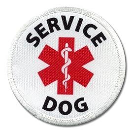 SERVICE DOG Assistance Animal Red Medical Alert Symbol 4 inch Sew-on Patch