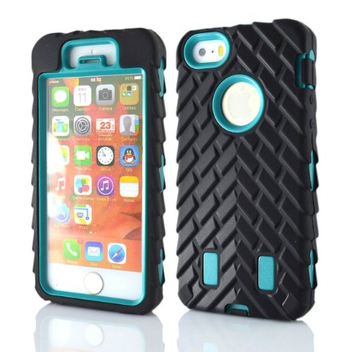 Meaci® Iphone 5 5S Case 3In1 Tire Stripe Combo Hybrid Defender High Impact Body Armorbox Hard Pc&Silicone Case (Cyan)