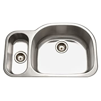 Houzer MG-3209SL-1 Medallion Designer Series Undermount Stainless Steel 80/20 Double Bowl Kitchen Sink Small Bowl Left