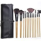 Joly 12pcs Portable Wooden Handle Makeup Brush Set with Black Pouch Bag Beauty kits