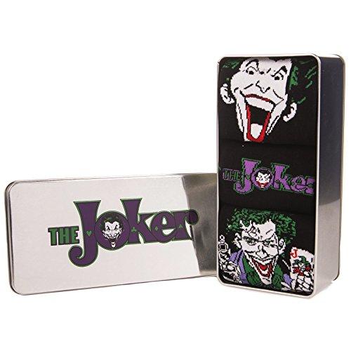 Ufficiale Retro Batman Joker Comic Stampa 3 Confezione da Uomo Calze a Tin Confezioni Regalo - Taglia Unica