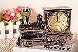 おしゃれ ! かわいい 目覚まし時計 レトロ 列車 メタリック風 置時計 アラーム ka48021