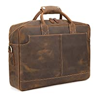 "Kattee Vintage Simple Look Real Leather 17""Laptop Briefcase Shoulder Bag Tote by Kattee"
