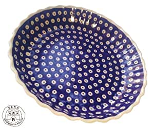 Classic Boleslawiec Pottery Hand Painted Ceramic Round Pie Dish 100-T-001