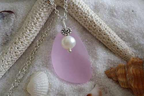 Pink sea glass necklace
