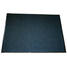"""Durable+Corporation Durable Corporation Vinyl Chevron Rib Entrance Mat, For Indoors, 36"""" Width x 48"""" Length x 0.375"""" Thickness, Blue"""
