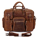 Mige Intl Men's Genuine Leather Briefcase Chocolate