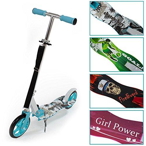 TecTake Scooter Roller Tretroller Cityroller klappbar XXL Räder 205mm -diverse Farben- (Blau)
