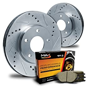 Max KT063211 Front Silver Slotted & Cross Drilled Rotors and Ceramic Pads Combo Brake Kit