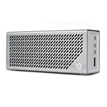 The Crasher by JLab Loud Portable Bluetooth Stereo Speaker with 18 Hour Battery - Air Aluminum / White