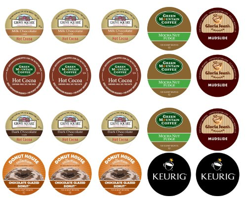 Crazy Cups Chocolate Lovers Coffee and Cocoa Sampler,  K-Cup Portion Pack for Keurig K-Cup Brewers (Pack of 20)