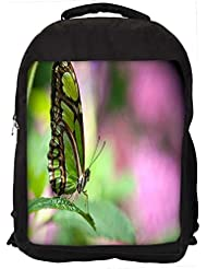 """Snoogg Green Butterfly Casual Laptop Backpak Fits All 15 - 15.6"""" Inch Laptops"""