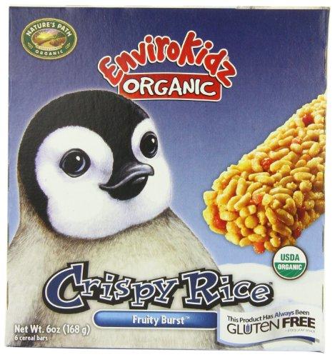 EnviroKidz Organic Penguin Fruity Burst Crispy Rice Bar, 6-Count Bars (Pack of 6)