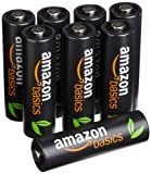 AmazonBasics AA High-Capacity Ni-MH Pre-Charged Rechargeable Batteries (8-Pack) - 500 cycles  (Typical 2500mAh, Min. 2400mAh)