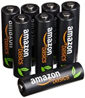 AmazonBasics High Capacity 8 Pack AA Ni-MH Pre-Charged Rechargeable Batteries, 500 cycles  (Typical 2500mAh, Min. 2400mAh)