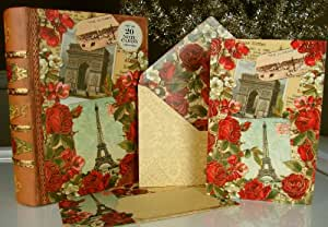 Punch Studio Boutique #92975 Eiffel Tower & Red Roses Paris Large Note Card Set of 20 in Keepsake Decorative Book Box