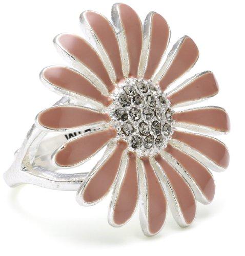 Pilgrim Jewelry Damen-Ring Blume versilbert rosa 2.6 cm verstellbar Gr. 51-59 171316704