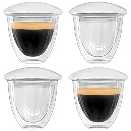 Alpha Coffee Espresso Cups - Sold In Elegant Gift Box - Double Walled Demitasse Shot Glasses With Lids To Keep Your Coffee Hot. Set Of 4 (Glass Expresso Cups Set compare prices)