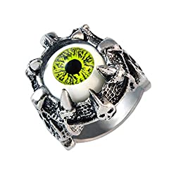 Sarah Claw Holding Green Evils Eye Finger Ring for Men - Silver [Jewelry]