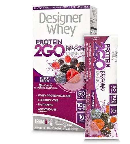 Designer Whey  Protein 2Go Drink Mix, Mixed Berry, 0.56 Ounce (5-Packets)