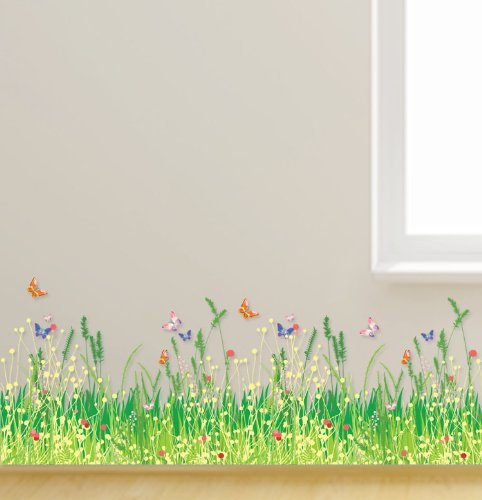 Kappier Colorful Spring Wild Flowers with Butterflies Peel & Stick Wall Decals - 1
