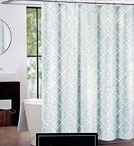 Amazon Com Cynthia Rowley Fabric Shower Curtain Silver Gray Light Green Turkish Tile Home