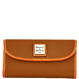 Dooney & Bourke Pebble Leather Continental Clutch Wallet Cocoa
