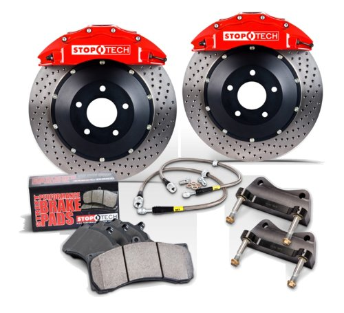 StopTech front 14 inch BBK with Red ST-60 calipers, slotted 355x32mm rotors