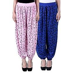 NumBrave Printed Viscose Light pink & Blue Harem Pants (Pack of 2)