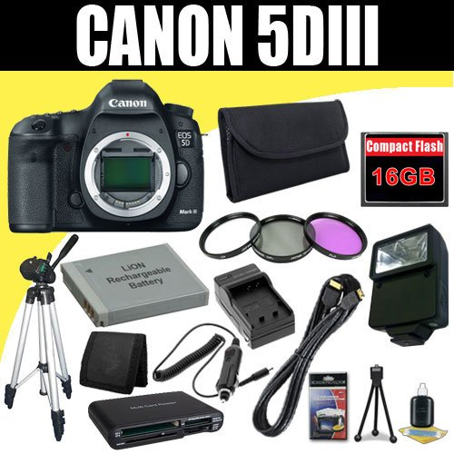 Canon EOS 5D Mark III 22.3 MP Full Frame CMOS with 1080p Full-HD Video Mode Digital SLR Camera (Body) + LP-E6 Replacement Lithium Ion Battery + External Rapid Charger + 16GB Compact Flash Memory Card + 72mm 3 Piece Filter Kit + Mini HDMI Cable + Full Size Tripod + External Flash + SDHC Card USB Reader + Memory Card Wallet + Deluxe Starter Kit Deluxe Accessory Kit