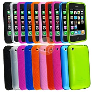 8 x Textured Silicone Skin Case Cover + 2 x TPU rubber Case For iPhone 3G S 3GS (10 Packs case combo)