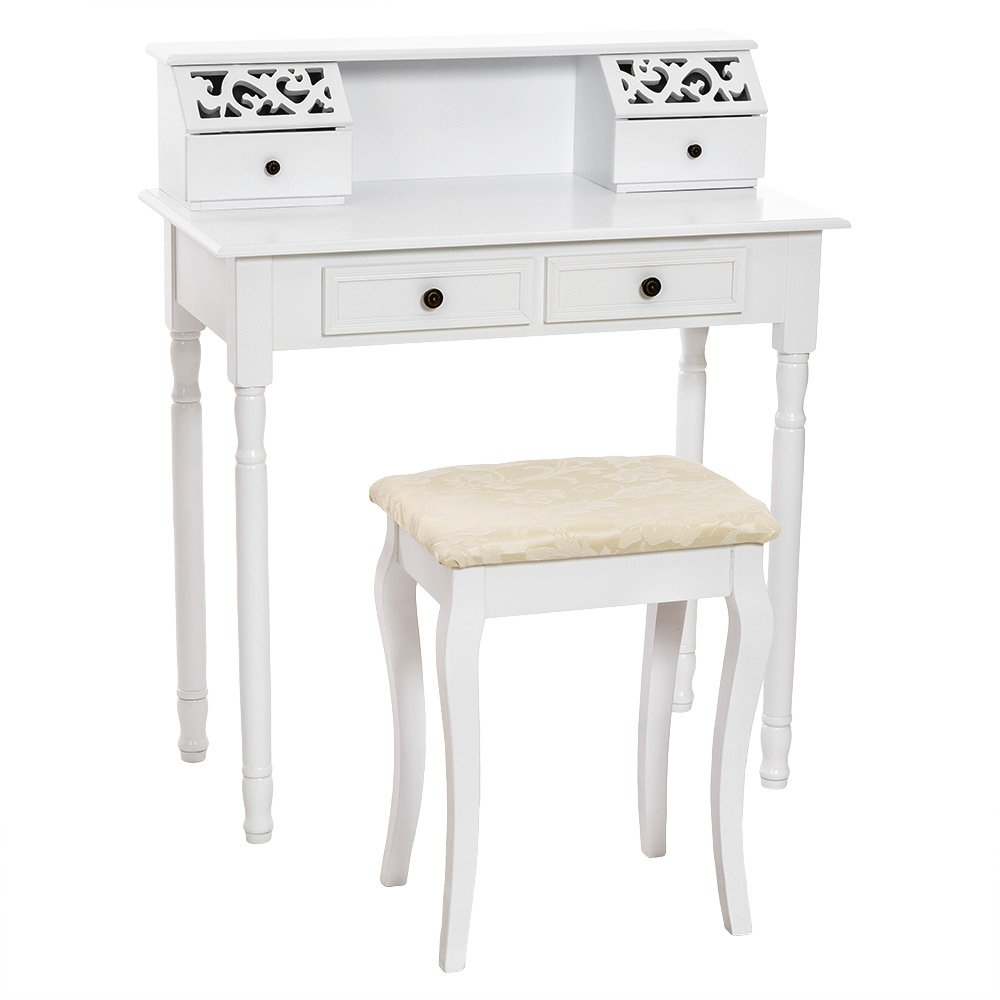 TecTake Make up table dressing vanity room bedroom desk with stool and 4 drawers white       Customer reviews and more description