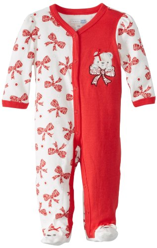 Vitamins Baby-Girls Newborn Bear And Bows Coverall, Red, 3 Months