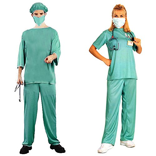 HDE His & Hers Doctor Nurse Scrubs Adult Halloween Couples Costumes