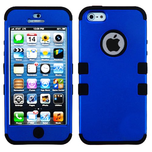 Mylife Black And Royal Blue - Colorful Robot Series (Neo Hypergrip Flex Gel) 3 Piece Case For Iphone 5/5S (5G) 5Th Generation Smartphone By Apple (External 2 Piece Fitted On Hard Rubberized Plates + Internal Soft Silicone Easy Grip Bumper Gel)
