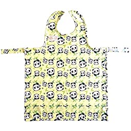 BIB-ON, A New, Full-Coverage Bib and Apron Combination for Infant, Baby, Toddler Ages 0-4+. One Size Fits All! (Pandas)